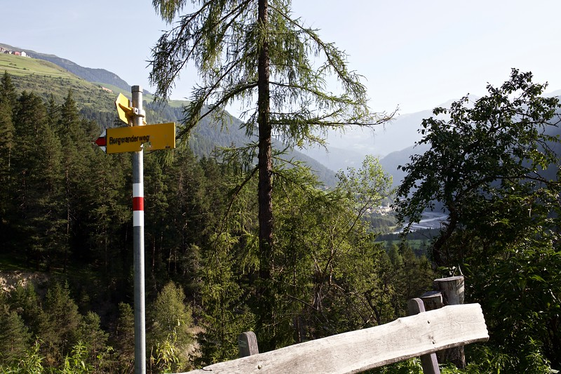 Signs mark the hiking trails throughout Switzerland.