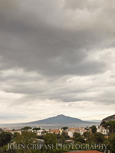 Mount Vesuvius under threatening skies.
