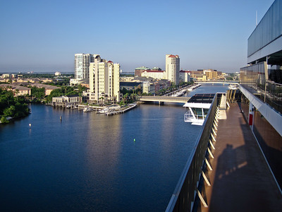 View of Tampa from upper deck of Carnival Legend.