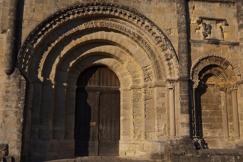 The entrance to L'Église-Monolithe, an 11th century troglodyte church that was dug into the limestone.