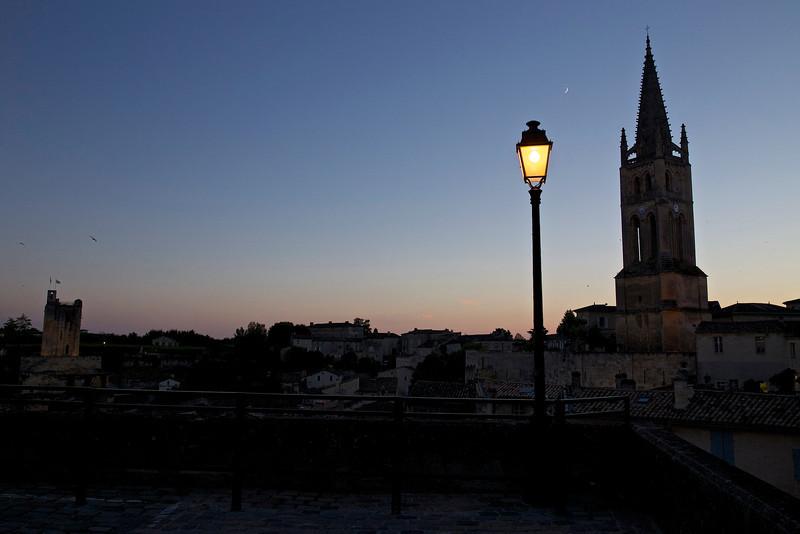 This was our arrival at Saint-Émilion: Le Clocher on the right; Tour de Roy on the left. Spectacular!