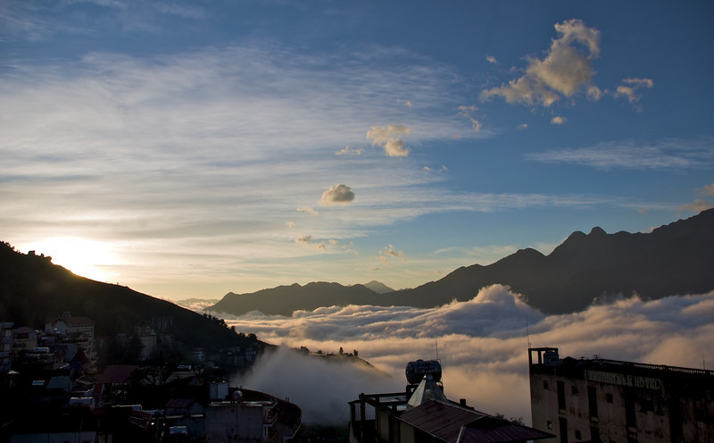 Sunrise over Sapa and the valley below
