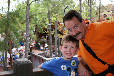 Scott & Aaron wait for the Walt Disney World Railroad - Magic Kingdom