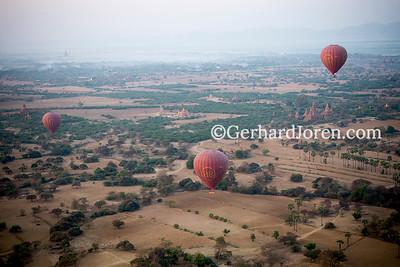 Balloons, Bagan Temples, Myanmar