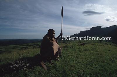 Ossu, East_Timor - Feb 1990. A deer hunter waits for his prey on a hill near Ossu, 190 km east of the capital Dili.