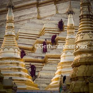 Novice monks, Shwedagon Pagoda, Yangon, Myanmar