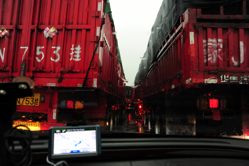 Traffic jam in during the thunderstorm on the way back to Beijing