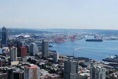 View from the top of the Space Needle, Seattle, WA