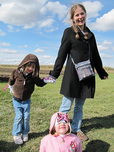 Zoë and Maggie frolicking in the warm sunshine with their favourite Aunt Sarah!