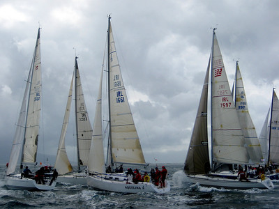 One of the starts (took 4 starts to get this race off, black flag on the 4th start).  It's now blowing 20+ knots.