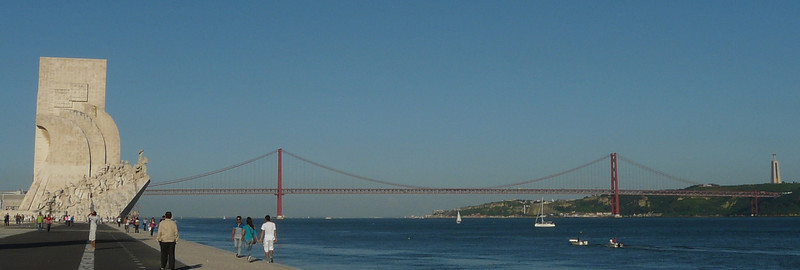 The discovery landmark and the 25 de Abril bridge that crosses the Tagus.  Apparently the bridge was built by the same folk that built the San Fran-Oakland Bay bridge (and not the golden gate bridge as rumour goes).