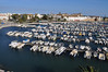 View from the hotel room --  overlooking the marina in Faro.  No, no sailboats.  Too shallow for them to get in here.  They were moored outside the marina on mooring balls.