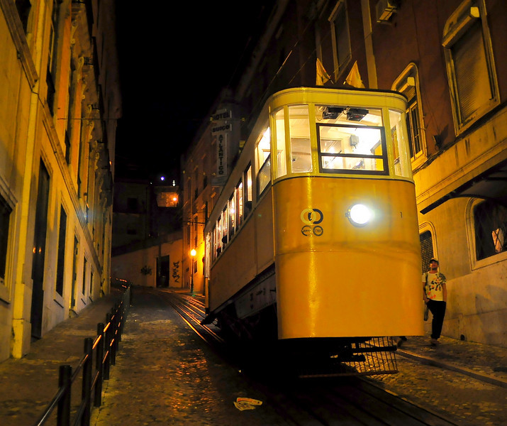 Ascensor da Gloria - probably steepest public transit ride in the world.  (Lisbon).