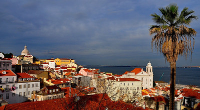 The sun came out! Looking at the Alfama district in Lisbon.