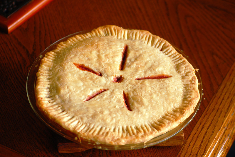 Cherry pie out of the oven!!