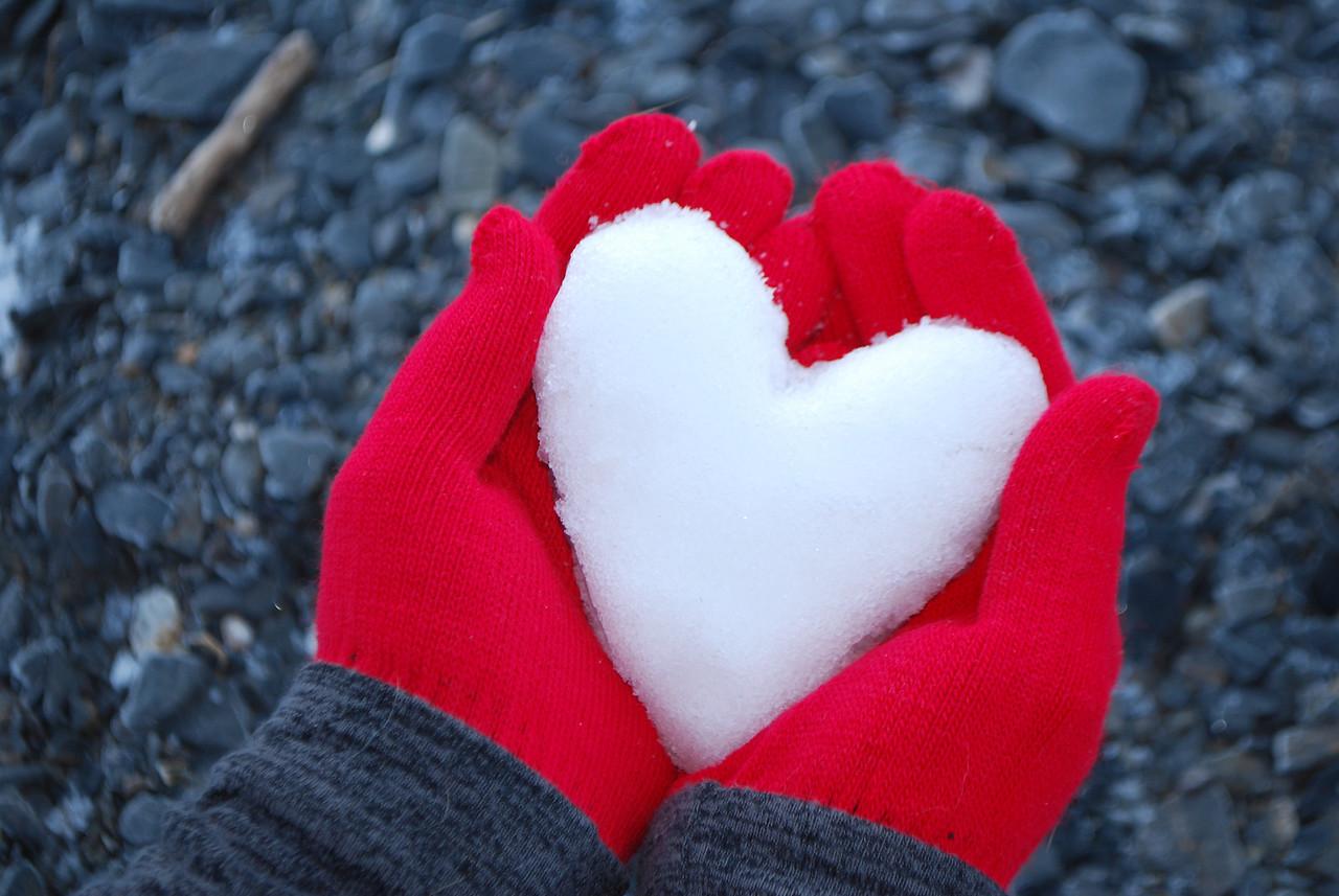 Snow heart on beach