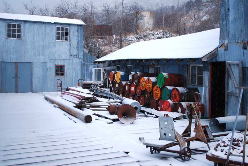 Snow on cannery pier