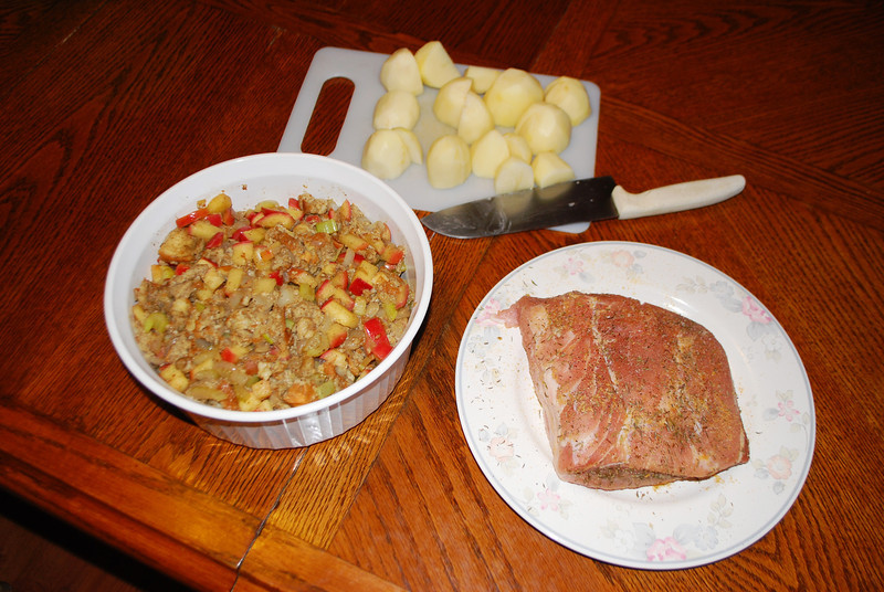 Prepping Christmas dinner