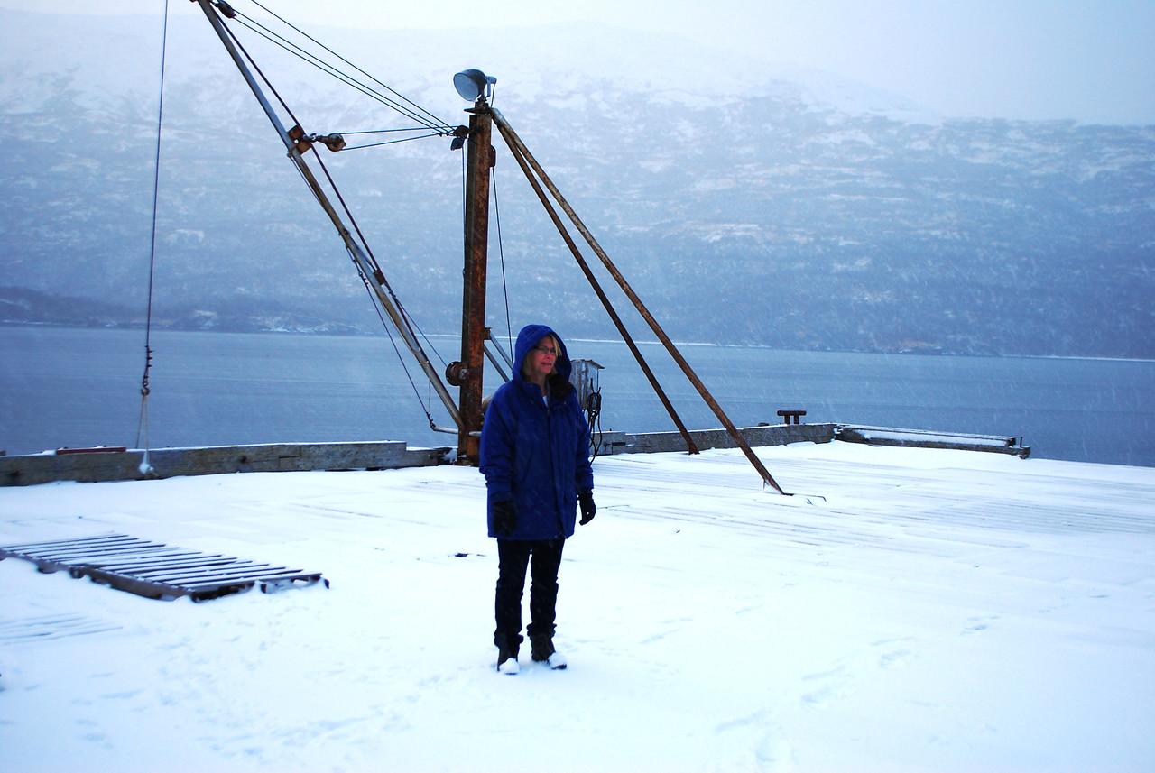 Pam on snowy pier