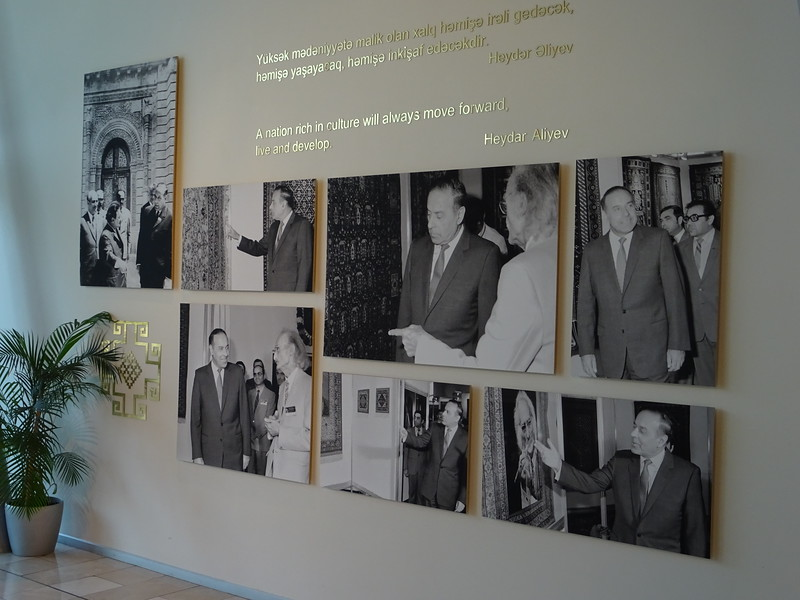Azerbaijan Carpet Museum, shaped like a rolled-up carpet
