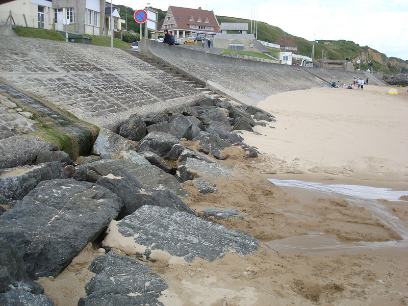 Original sea wall ehere first US troops landed June 6, 1944