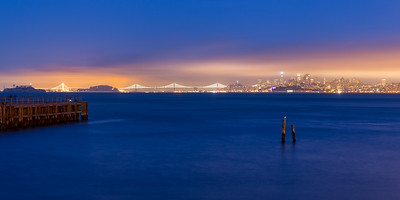 Twilight view of San Francsico as seen from Fort Baker