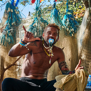 Fisherman with Nets at Copacabana