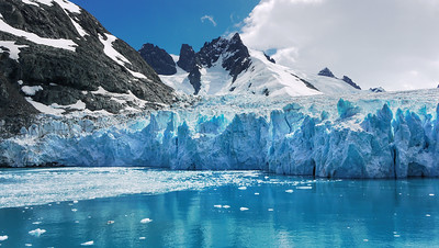 Glacier at the head of Drygalski Fjord, South Georgia Island, South Atlantic Ocean
