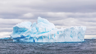 Iceberg floating in Antarctica. It kind of looks like a ship!