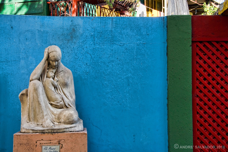 A mother and child sculpture at the entrance of an apartment compound.<br /> <br /> Colourful, touristy and interesting. You don't need much time here and probably don't want to spend too much of it - the area is right next to an extremely poor section of town and as a tourist, you'll be targeted after hanging around too long. Keep your hands on your things and your purses (or manbags) in front of you.