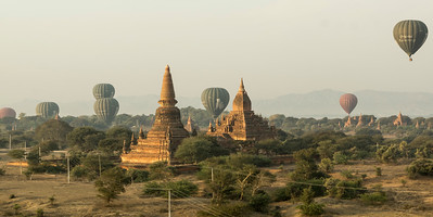 from hot air balloon, Bagan, Myanmar