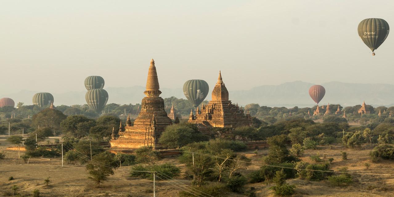 from hot air balloon, Bagan, Myanmar