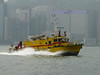 fire boat in Hong Kong harbour as we leave Central