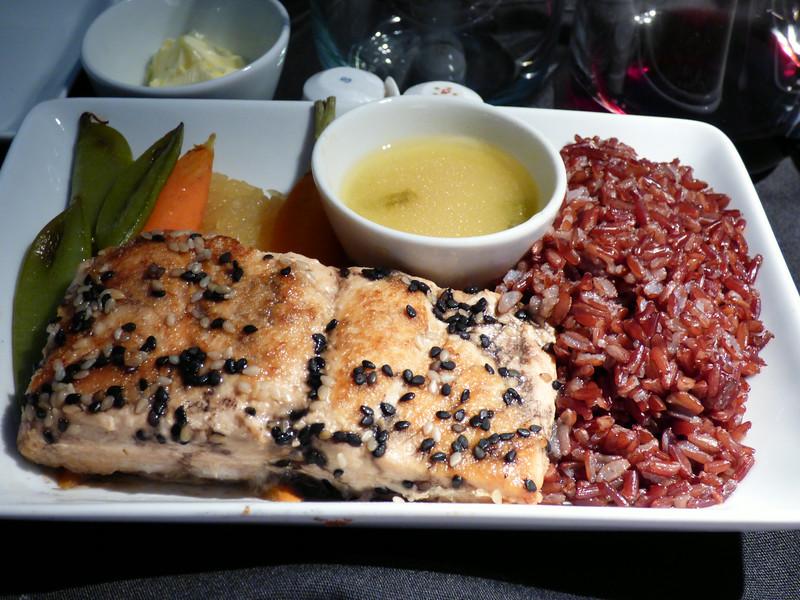 20140815 1245 DFW-HKG sesame crusted salmon with yuzu cream sauce