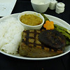 20140319 777-200 DFW-ICN grilled fillet of beef offered with pineapple teriyaki sauce, steamed rice, grilled asparagus and carrots