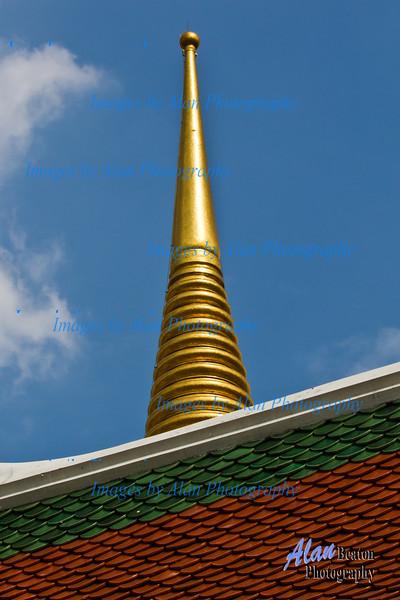 Golden Spires, Grand Palace, Temple of the Emerald Buddha, Wat Phra Kaew, Bangkok, Thailand