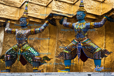 Demons supporting the Gilded Chedi, Grand Palace, Bangkok, Thailand