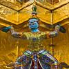 Demon supporting the Gilded Chedi, Grand Palace, Bangkok, Thailand