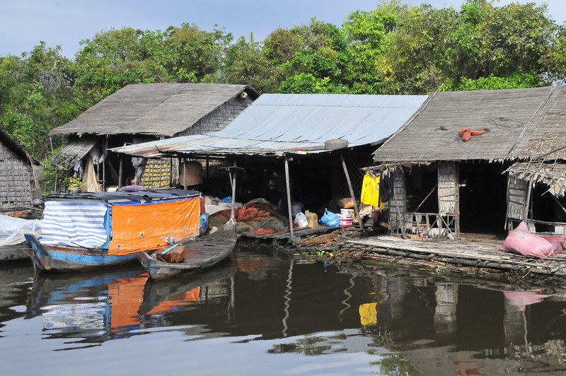"""""""Floating village"""" during the Tonle Sap (or Great Lake) boat ride."""