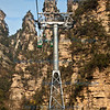 Cable car rising through the quartz pillar-like columns, Wulingyuan scenic area, Zhangiajie