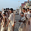 Young Brahmin priests welcoming the day on the Ganges