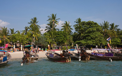 Beach at Ao Nang. Some of South Thailand's beaches look more like harbors.