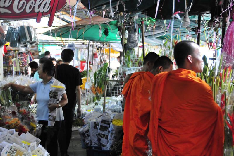 Bangkok street scenes - Monks at the Flower market