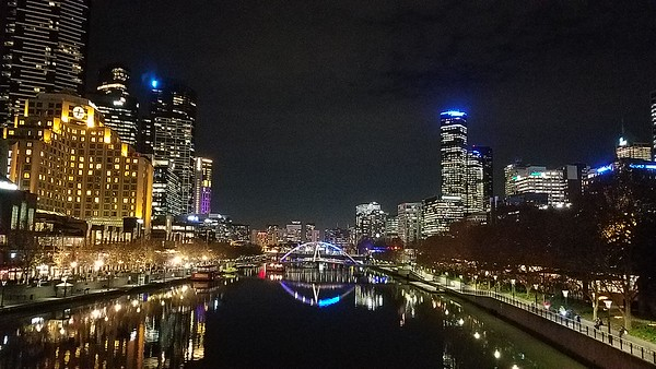 Yarra River with South Bank, packed with cafes and restaurants, on the left