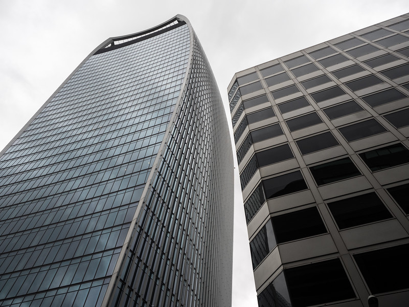 Getting well out of hipster territory, the walkie-talkie building. I actually don't like it much when viewed from afar, but it's quite impressive up close.