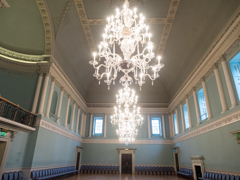 The impressive chandeliers in the Ball Room of the Assembly Rooms, centre of fashionable Georgian life in the town.
