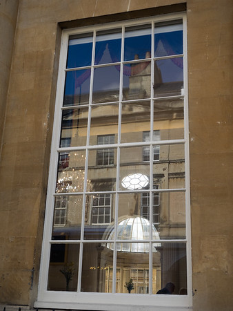 Looking through the window of the Pump Room -  from the Eighteenth century people came here to socialise and drink the spa water.