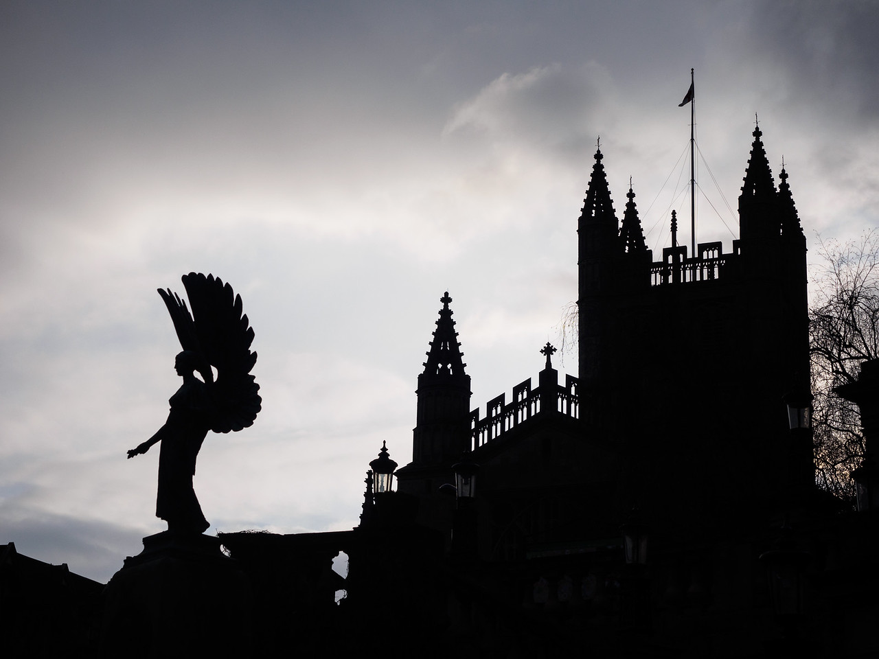Bath Abbey silhouetted at sunset.
