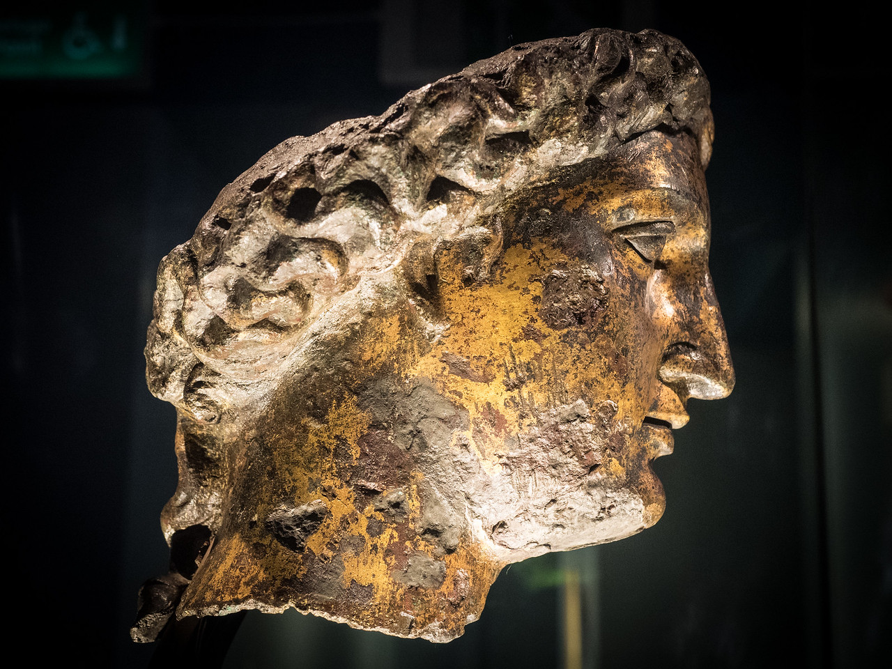 A fantastic gilt bronze head of the goddess Sulis Minerva found in the 18th century by sewer workers,  near the baths. Originally it would have been part of a statue in the temple at the baths.
