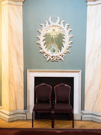 This mirror, in the Assembly Rooms, is reflecting a mirror on the opposite wall, which is reflecting the first mirror reflecting the...er...my head's starting to hurt.